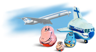 Nesting aircraft with a family of Mummi Trolls - company characters for Finnair airlines