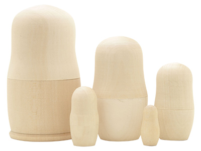 Unpainted Blank Nesting Doll 5pc./4