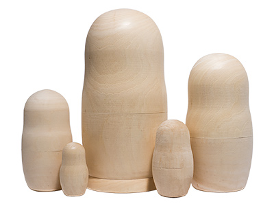 Unpainted Blank Nesting Doll 5pc./6