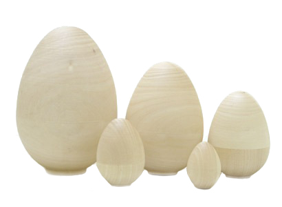 Unpainted Blank Nesting Egg 5pc./4.5