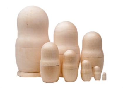 Unpainted Blank Nesting Doll 8pc 8
