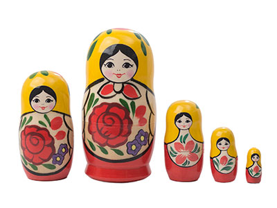 Traditional Nesting Doll w/ Rose 5pc./4