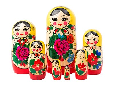 Authentic Russian Semenov Doll 7pc./6