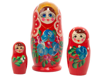 Classic Floral Nesting Doll 3pc./3