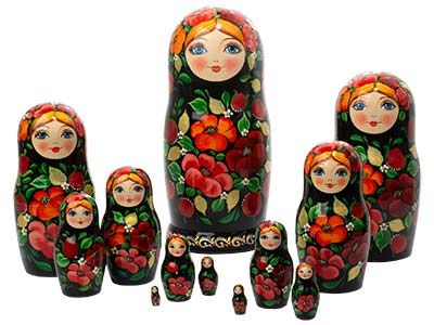 Scarlet Pansy Girl Nesting Doll 12pc./12