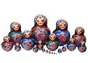 Zhostovo Floral Russian Nesting Doll - Red