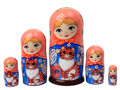 Maiden with Tabby Cat Matryoshka Doll