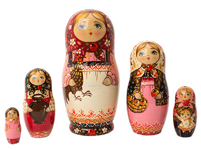 Rooster Girl in Pink Nesting Doll 5pc./6