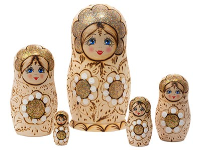 Woodburned Floral Doll 5pc./5.5