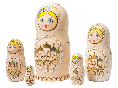 Woodburned Cathedral Doll 5pc./6