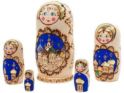 Russian Domes Woodburned Doll 5pc./6