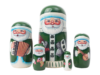 Irish Santa Nesting Doll 5pc./5