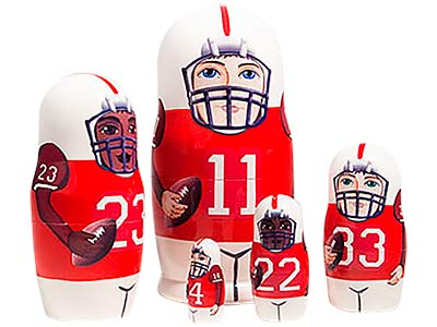 Red Football Nesting Doll 5pc./6""