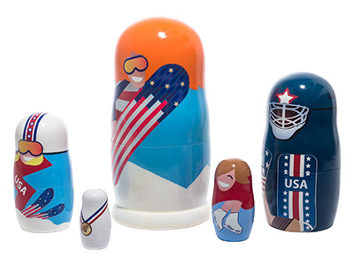 Winter Olympic Sports Nesting Doll 5pc./6