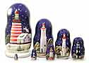 Lighthouses in the Night Nesting Doll 7pc./8
