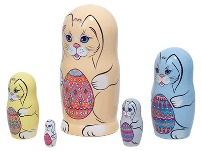 Easter Bunnies with Eggs Nesting Doll 5pc./5