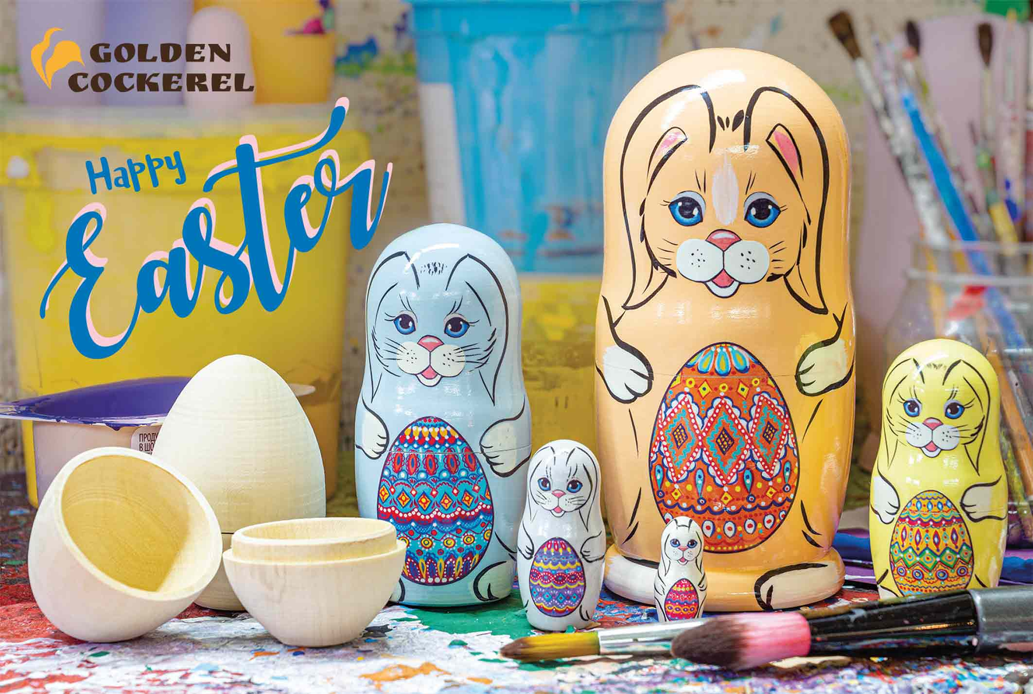 Easter bunny with eggs russian nesting doll easter bunnies with eggs nesting doll 5pc5 negle Images
