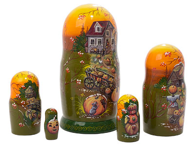 Frost on the Pumpkin Nesting Doll 5pc./5