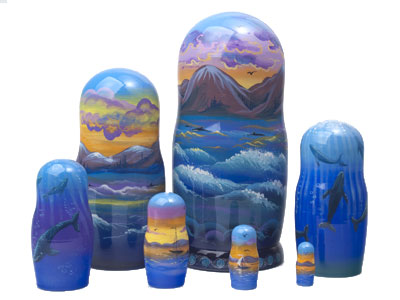 Whale Watching Nesting Doll 7pc/8