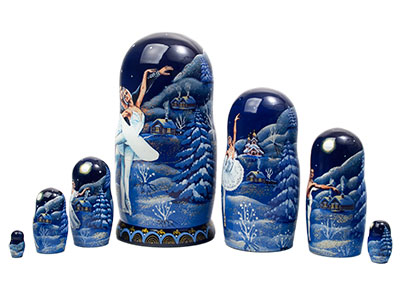 Russian Ballet Swan Lake Nesting Doll 7pc./8