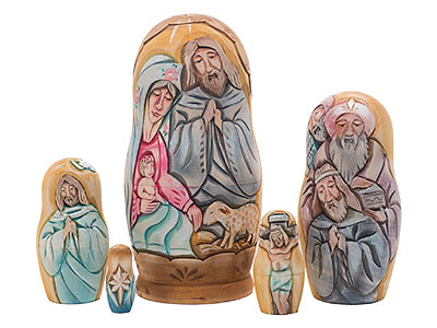 Carved Life of Christ Doll by Koblov 5pc./7