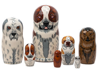 St. Bernard Dog Matryoshka Doll 7pc./8