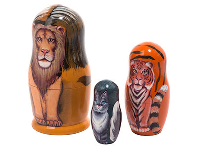 Lion Tiger Kitty Nesting Doll 3pc./3.5