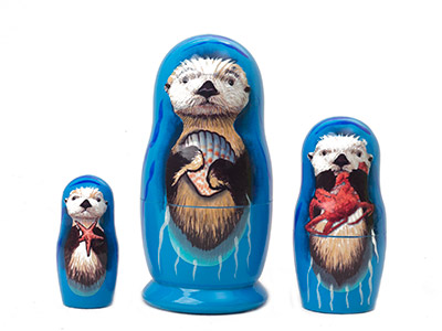 Sea Otter Nesting Doll 3pc./3.5