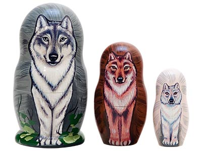 Wolf Pack Nesting Doll 3pc./3.5