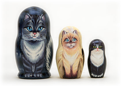 House Cats Nesting Doll 3pc./3.5
