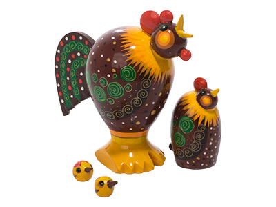 Realistic Rooster & Hen Doll 4pc./3