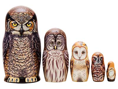 Owl Nesting Dolls Great Horned Owl Doll 5pc