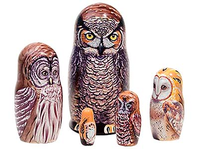 Great Horned Owl Doll 5pc./6