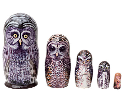 Owl Nesting Dolls Great Grey Owl Doll 5pc
