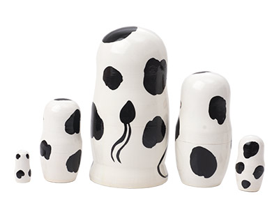 Holstein Cow Nesting Doll 5pc./4