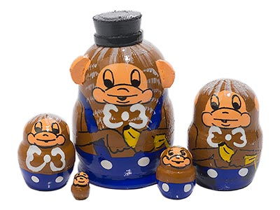 Mini Nesting Doll: Monkeys  5pc./1