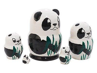 Mini Nesting Panda Doll 5pc./1.5