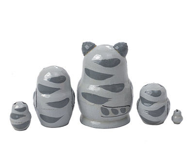 Mini Gray Cat w/ Mouse Doll 5pc./1