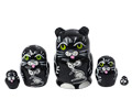 Mini Black Cat w/ Mouse Nesting Doll