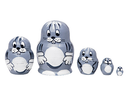 Miniature Stacking Doll: Bunny 5pc./1