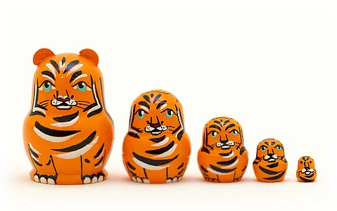 Miniature Stacking Doll: Tiger 5pc./1