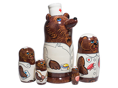 Nurse Bear Nesting Doll 5pc./8