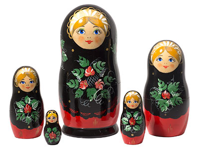 Red & Black Classical Doll 5pc./6