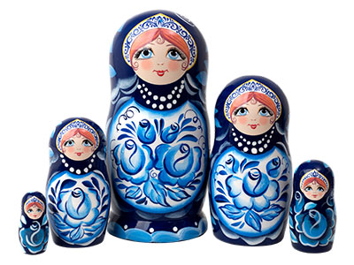 Gzhel Classical Doll 5pc./6