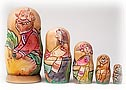 Turnip Carved Nesting Doll, 5pc./6''
