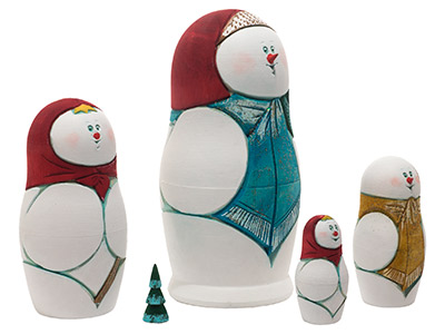 Snowman Carved Nesting Doll 5pc./6
