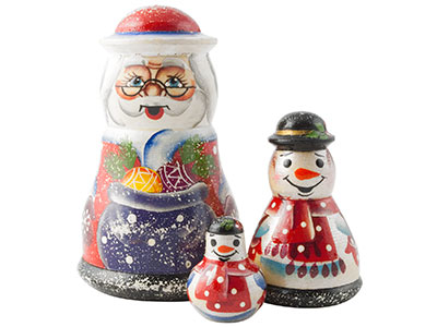 Father Frost w/ Snowmen Doll 3pc./4