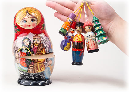 Matryoshka w/ Ornaments 6.5