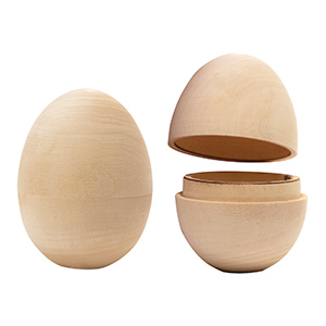 Unpainted hollow wooden egg for Wooden eggs for crafts