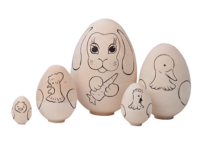 Unpainted Easter Animals Nesting Egg 5pc./4